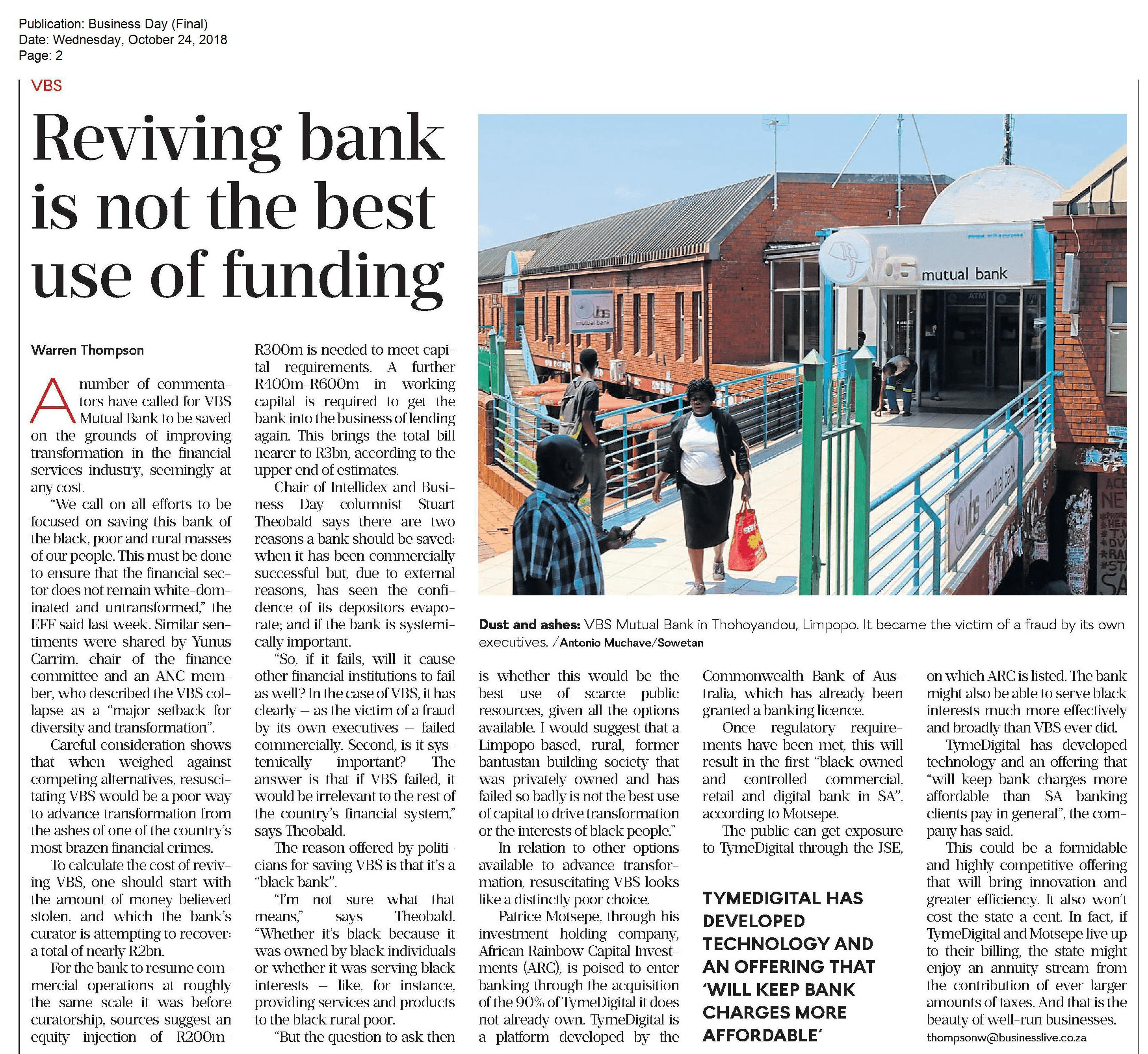 Reviving bank is not the best use of funding