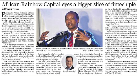 African Rainbow Capital eyes a bigger slice of fintech pie